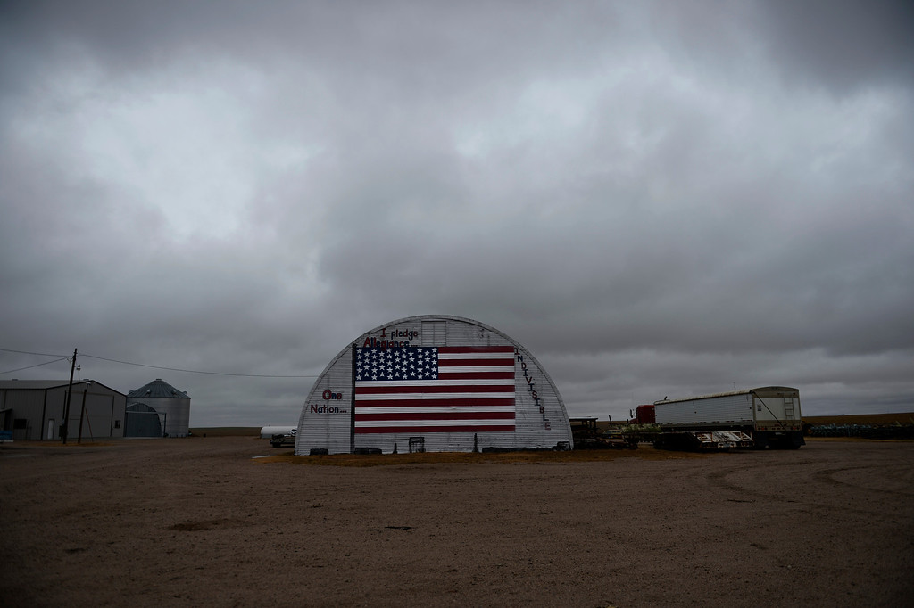 . BURLINGTON, CO - NOVEMBER 05: A large American flag is painted on the side of a building at a farm in Kit Carson County, November 05, 2013. Kit Carson County along with ten other Colorado counties are voting to secede from Colorado to form the 51st state. (Photo By RJ Sangosti/The Denver Post)