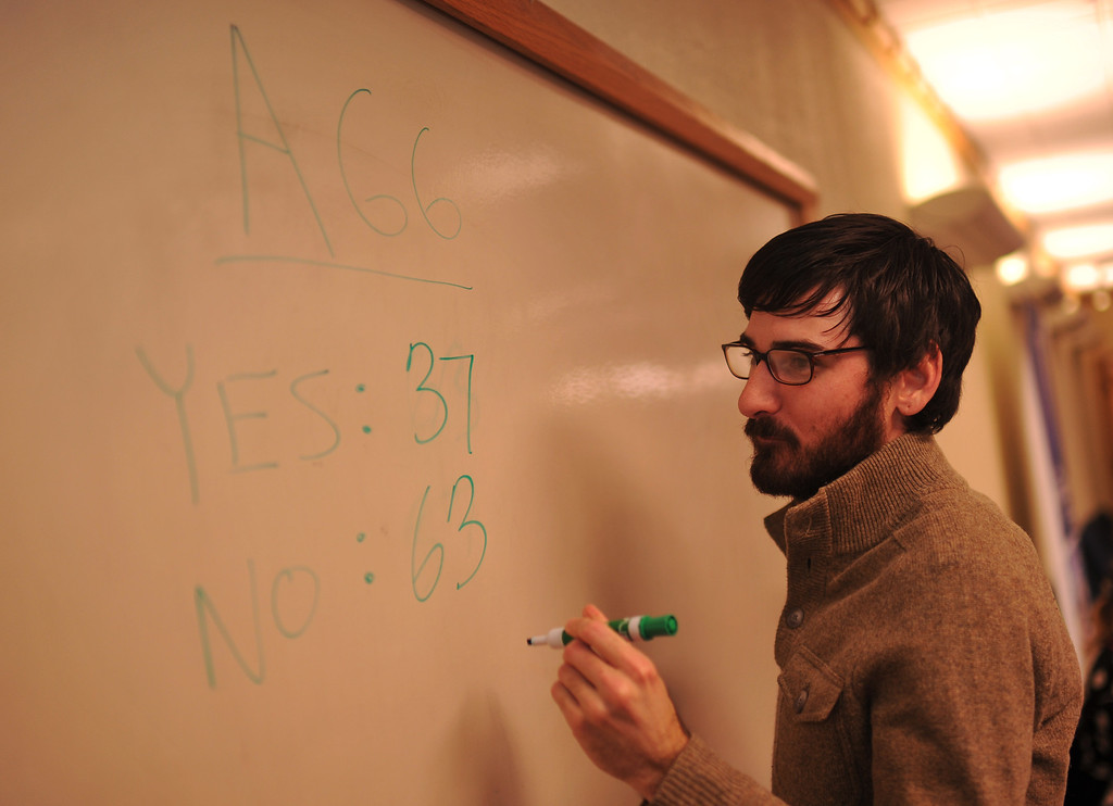 . DENVER, CO. NOVEMBER 05 : Justin Longo is updating the numbers during anti-amendment 66 party at the Independence Institute in Denver, Colorado November 05, 2013. (Photo by Hyoung Chang/The Denver Post)