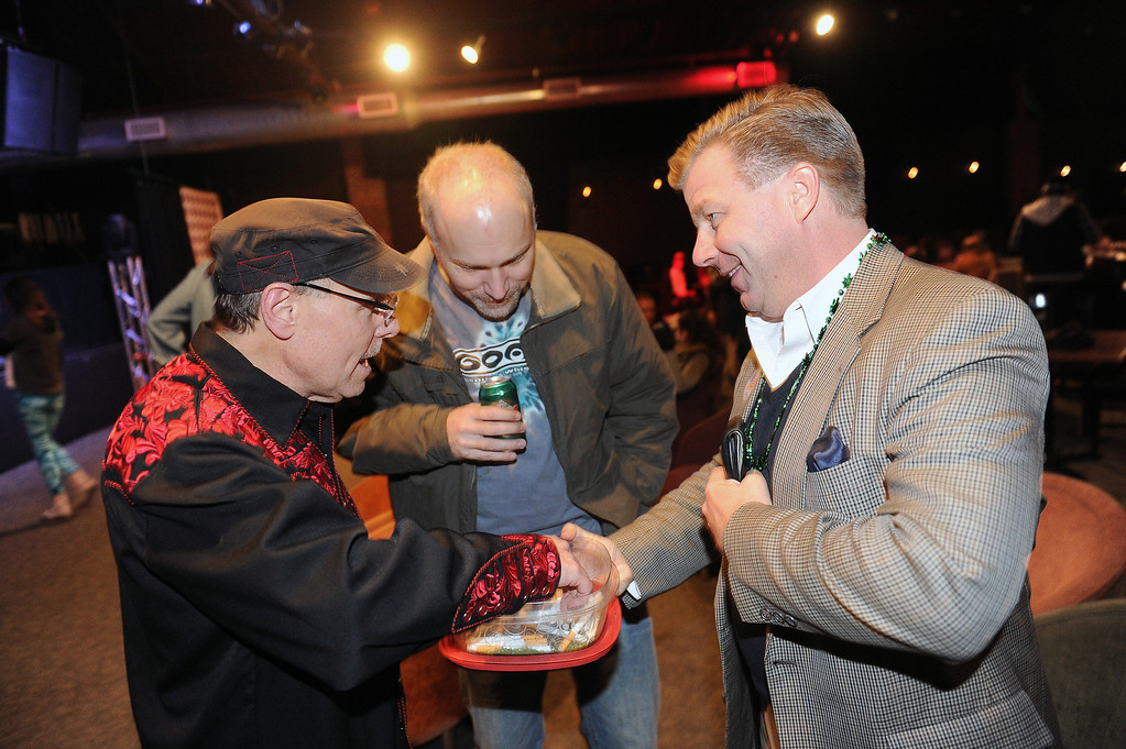 . DENVER, CO - NOVEMBER 5, 2013: Robert Corry, treasurer for the No on Proposition AA campaign, hands out joints to folks attending the campaign\'s watch party  at Casselman\'s Bar and Venue in Denver, Co on November 5, 2013.  Proposition AA is the Colorado statewide proposition to tax marijuana.  (Photo By Helen H. Richardson/ The Denver Post)