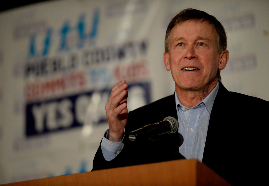 . DENVER, CO. - NOVEMBER 05:  Gov. John Hickenlooper addresses the crowd during a watch party for supporters of Amendment 66 at the Marriott City Center in Denver, CO November 05, 2013. Amendment 66 proposes a $950 million tax increase along with a restructuring of Colorado\'s K-12 school finance system. (Photo By Craig F. Walker / The Denver Post)