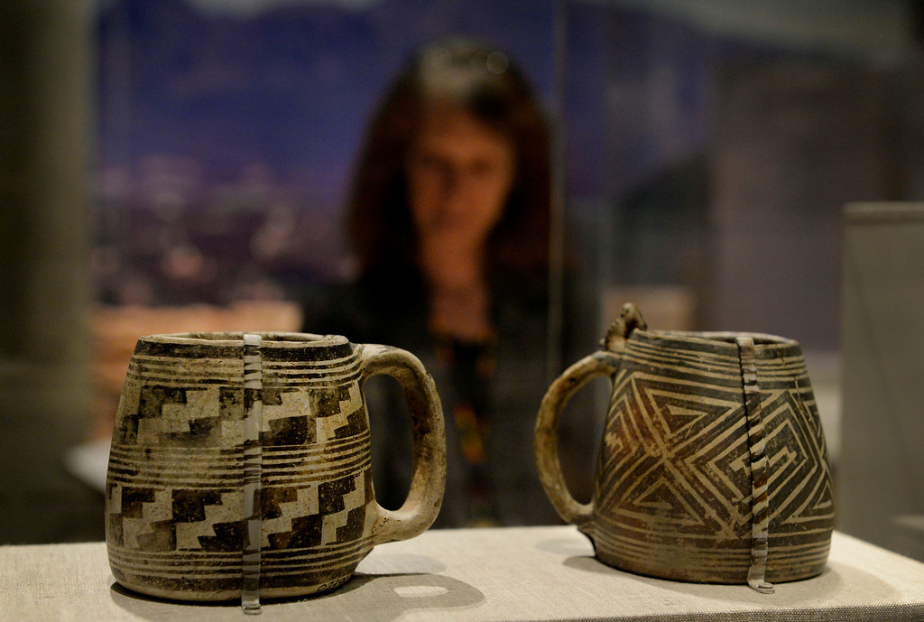 . DENVER, CO. - NOVEMBER 15:  Pueblo mugs are displayed in the Living West exhibit at the  History Colorado Center in Denver, CO November 15, 2013. The 7,000-square-foot exhibit opens November 23 and and is divided into three sections, Mesa Verde, the Dust Bowl and Our Mountains. (Photo By Craig F. Walker / The Denver Post)