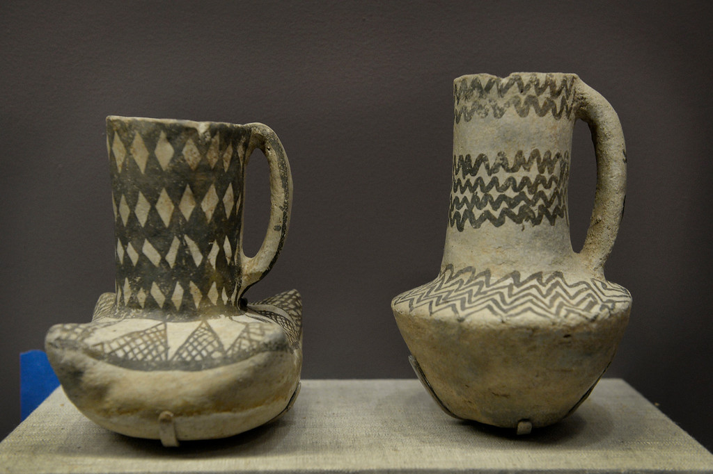 . DENVER, CO. - NOVEMBER 15:  A pair of Pueblo pitchers are displayed in the Living West exhibit at the  History Colorado Center in Denver, CO November 15, 2013. The 7,000-square-foot exhibit opens November 23 and and is divided into three sections, Mesa Verde, the Dust Bowl and Our Mountains. (Photo By Craig F. Walker / The Denver Post)