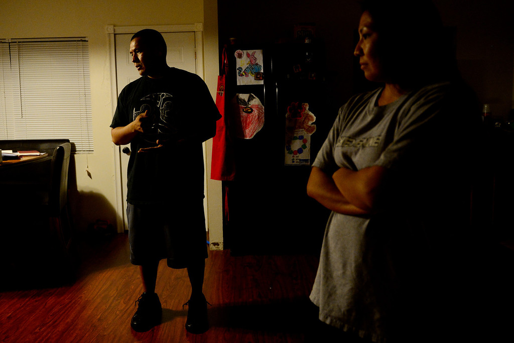 ". Cedric Lang and Sherrell Whiteman talk about the many problems facing the Ute Mountain Ute reservation. Both have what they call ""typical rez lives,\"" consisting of a lack of emphasis on education and witness to alcohol abuse. Both have since earned college degrees and returned to Towaoc to help the community flourish. (Photo by AAron Ontiveroz/The Denver Post)"
