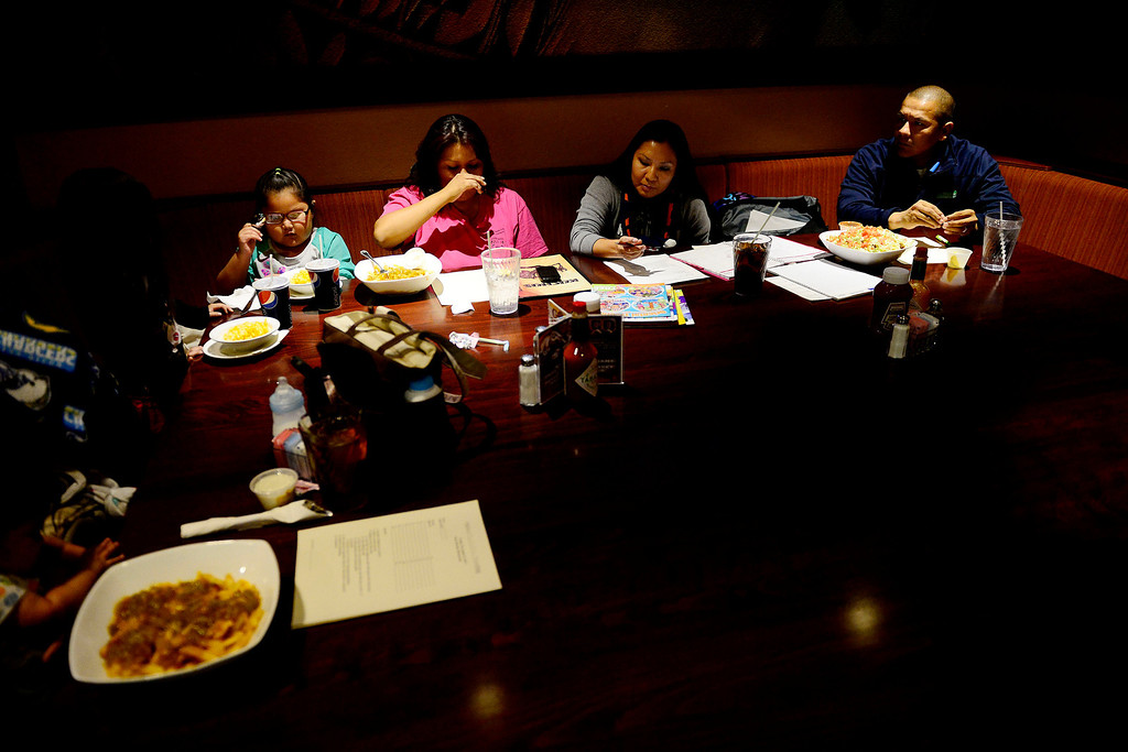 . Cedric Lang and Sherrell Whiteman lead a Head Start graduation planning committee at the Ute Mountain Ute reservation restaurant. Though roughly 30 kids are set to graduate and all parents were invited to the planning luncheon, only one showed up to plan. The high school graduation rate on the reservation is about 50 percent and many people feel that just finishing high school is enough. (Photo by AAron Ontiveroz/The Denver Post)