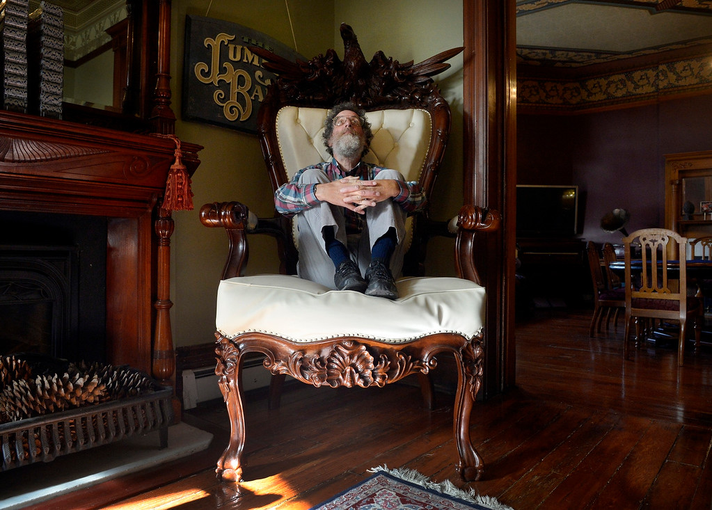 ". DENVER, CO. - NOVEMBER 20: Denver historian Phil Goodstein poses for a portrait in a throne at the Lumber Baron Inn in  Denver, CO November 20, 2013. Goodstein has two new books, one is ""Denver History Index\"" the first indexed encyclopedia of Denver\'s past. The other is \""Lumber Baron Inn: Denver\'s Mystery Mansion,\"" which he wrote with the Inn\'s owner, Walter Keller. (Photo By Craig F. Walker / The Denver Post)"