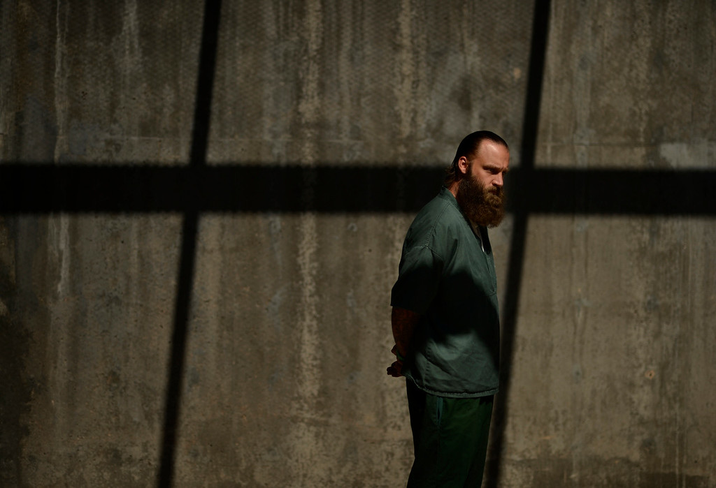. STERLING, CO-July 16, 2013: Inmate Jason Sloan while on parole murdered a man shooting him from his legs to forehead, July 16, 2013. Sloan is now serving time at Sterling Correctional Facility. (Photo By RJ Sangosti/The Denver Post)