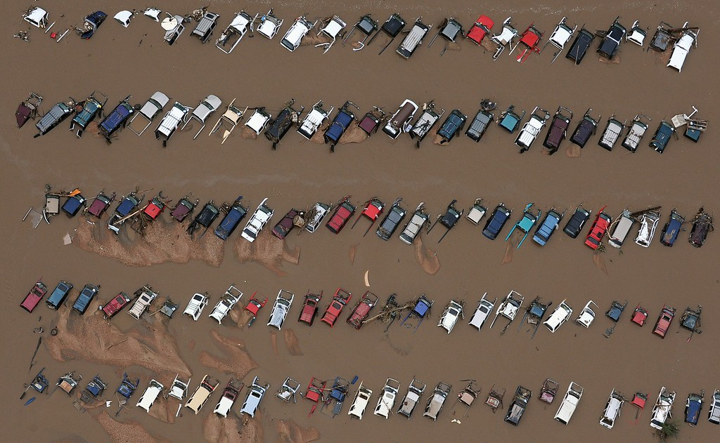 . EVANS, CO. - SEPTEMBER 16:  Cars in a Junk yard on 37th street in Evans Colorado. Aerial photographs of the Platte River flooding cities and farms in Weld County Colorado. (Photo By Tim Rasmussen/The Denver Post)