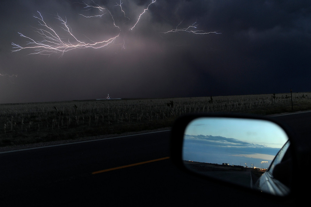 . DENVER, CO. - AUGUST 10: Lightning illuminated the night in the skies south of Denver International Airport Saturday night, August 10, 2013. Photo By Karl Gehring/The Denver Post