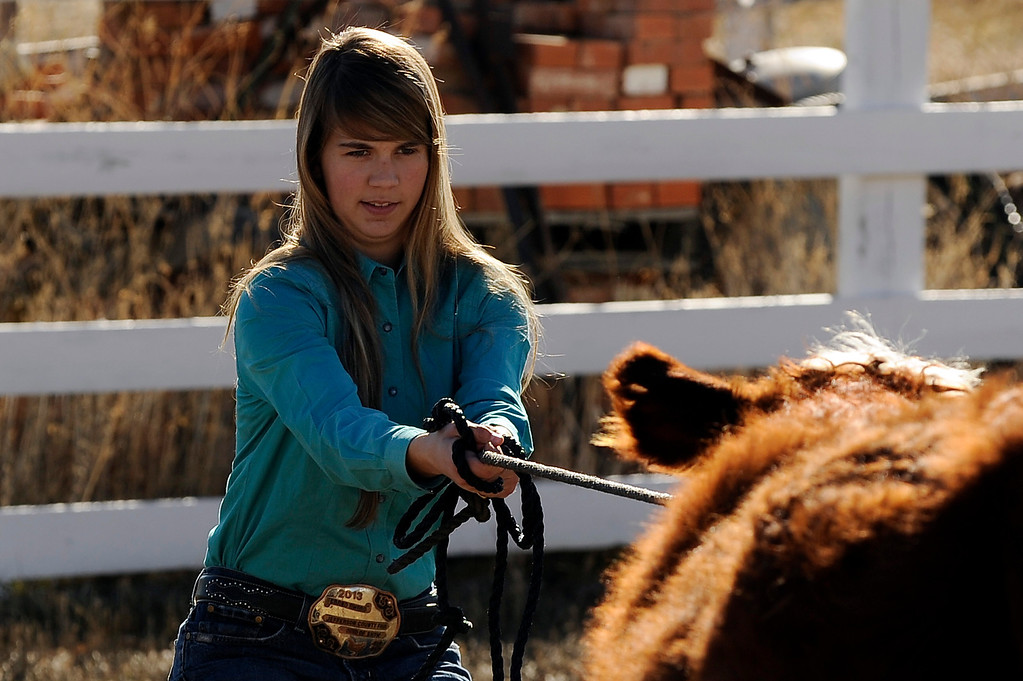 . WESTMINSTER, CO - JANUARY 20: Peyton Huss, 15, trains Felix, an 11-month-old Hereford-Angus Cross calf, to walk with her on January 20, 2014, in Westminster, Colorado. Huss will spend the next several months raising and training Felix until she shows him at the Jefferson County Fair in August. She took third in showmanship at the National Western Stock Show on January 12, for showing Marvin, a Hereford-Angus Cross bull. The Stock Show will continue through January 26. (Photo by Anya Semenoff/The Denver Post)