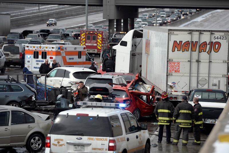 . One person was killed and 20 people were taken to three hospitals with injuries Saturday morning in a giant pileup on north bound Interstate 25 as a band of heavy snow moved through Denver. (Photo by Kathryn Scott Osler/The Denver Post)