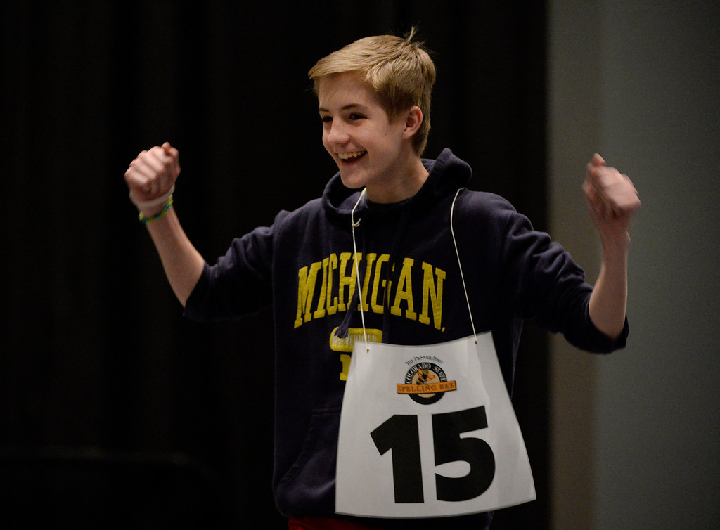 """. DENVER, CO. - MARCH 08: Hamilton Middle School 8th grader, Alex Jurich, celebrates after winning the 74TH Annual Colorado State Spelling Bee Saturday, March 08, 2014 at the Colorado Convention Center. Jurich won after spelling the word �diptych.\"""" (Photo By Andy Cross / The Denver Post)"""