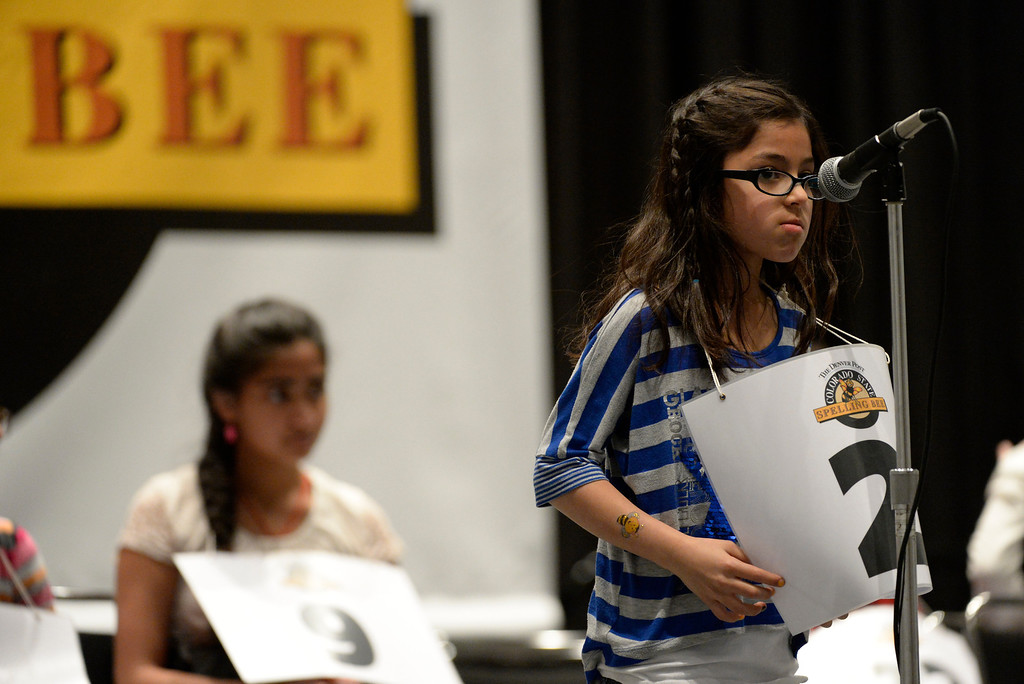 . DENVER, CO. - MARCH 08: Cheyenne Trujillo, a third grader at Hackberry Elementary School, contemplates before spelling a word a the 74TH Annual Colorado State Spelling Bee Saturday, March 08, 2014 at the Colorado Convention Center. (Photo By Andy Cross / The Denver Post)