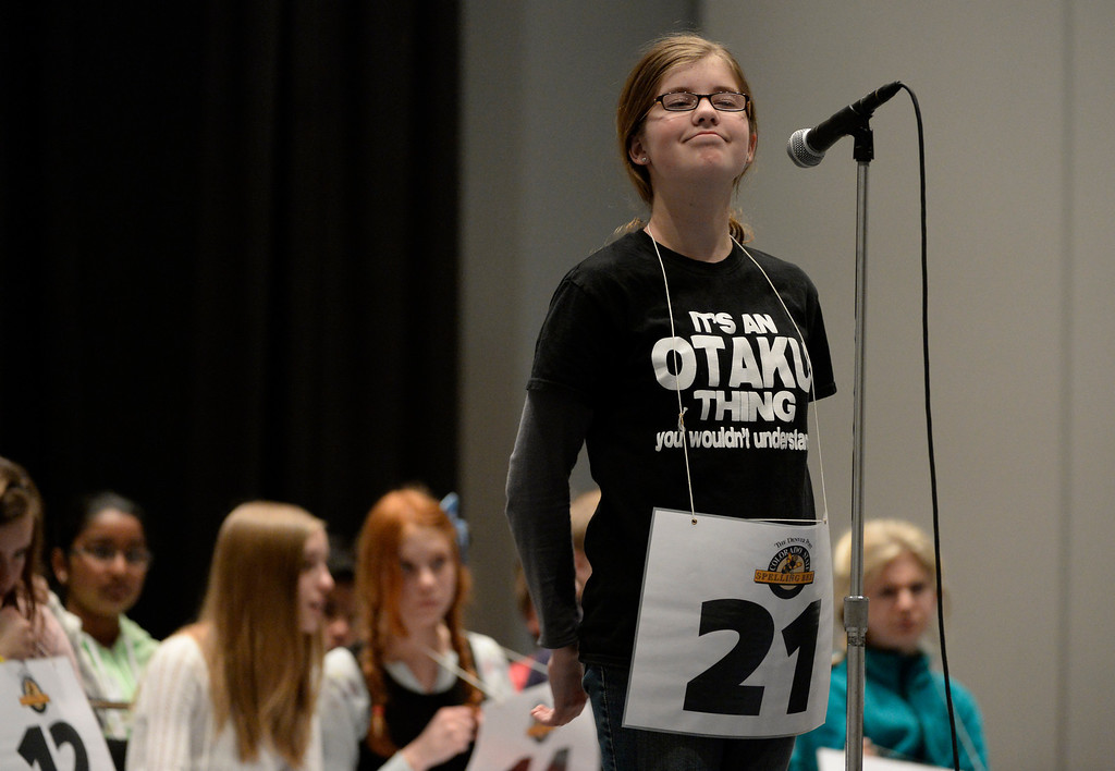 . DENVER, CO. - MARCH 08: Tia Karkos, a 7th grader at Slavens Elementary School, takes a moment to contemplate a word before spelling it  the 74TH Annual Colorado State Spelling Bee Saturday, March 08, 2014 at the Colorado Convention Center. (Photo By Andy Cross / The Denver Post)