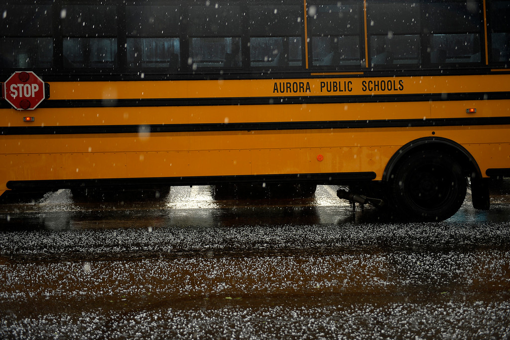 . AURORA, CO. - May 21: Empty busses wait for students during a tornado warning right at Kenton Elementary May 21, 2014 Aurora, CO (Photo By Joe Amon/The Denver Post)
