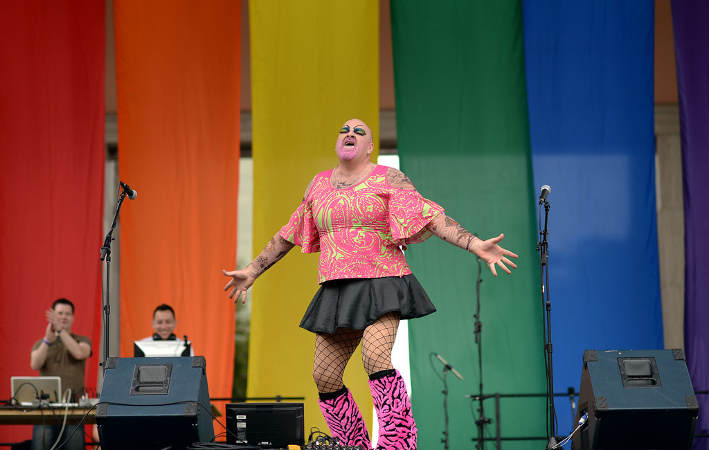 """. DENVER JUNE 21: Drag queen \""""Gabriella Butzin\"""" performs for the 2014 Denver Pridefest at Civic Center Park in Denver, Colorado June 21, 2014. The Festival kicks off with many events. (Photo by Hyoung Chang/The Denver Post)"""