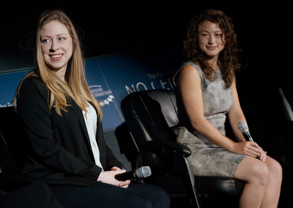 . Chelsea Clinton, left, and Debbie Sterling, founder and CEO of GoldieBlox, host from STEM to success: A No Ceilings Conversation at the Denver Museum of Nature and Science planetarium, June 23, 2014. The discussion focused attracting girls and women to scientific and technological fields. (Photo by RJ Sangosti/The Denver Post)