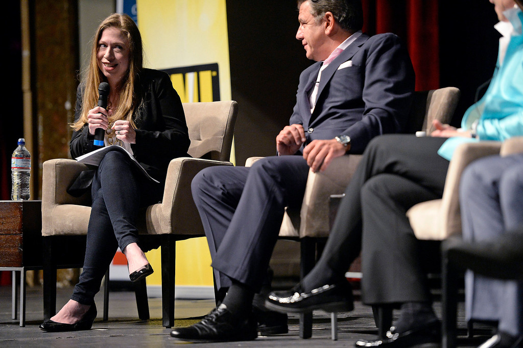 . Chelsea Clinton moderates a panel discussion during a screening of the documentary Underwater Dreams. The Clinton Global Initiative on Monday, June 23, 2014. (Photo by AAron Ontiveroz/The Denver Post)