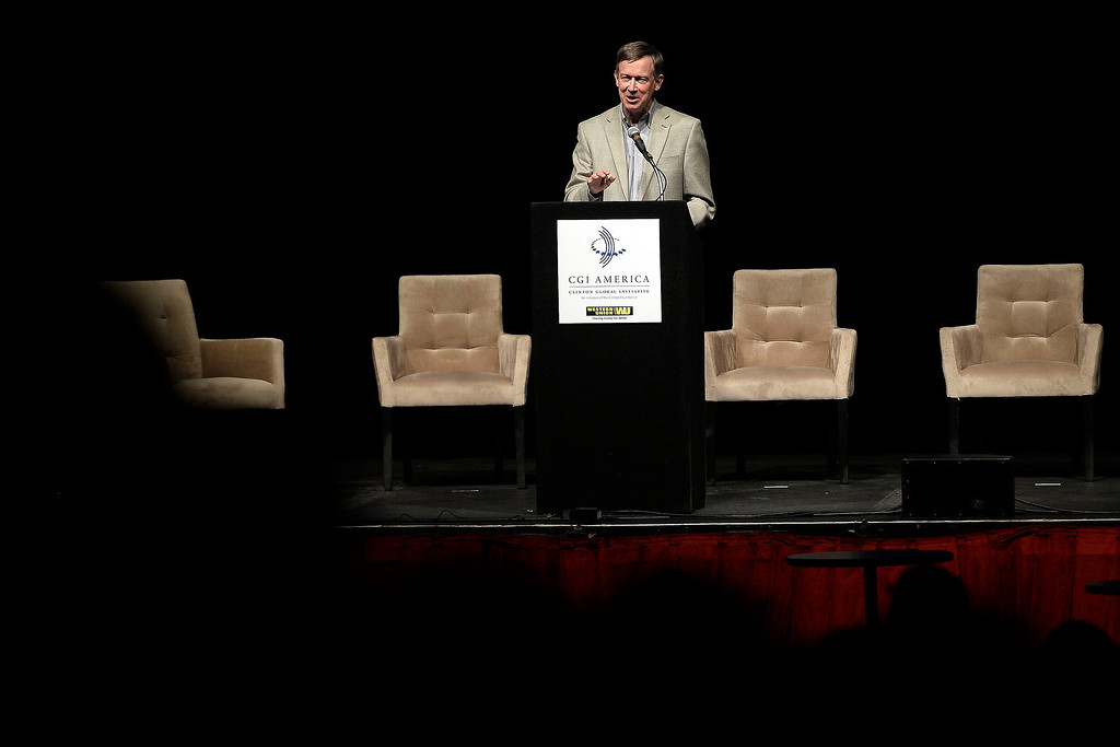 . Governor John Hickenlooper gives an introduction during a screening of the documentary Underwater Dreams. The Clinton Global Initiative on Monday, June 23, 2014. (Photo by AAron Ontiveroz/The Denver Post)