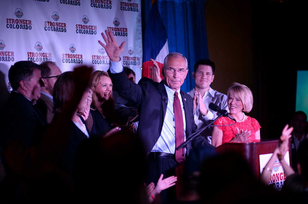 . Bob Beauprez celebrates winning of race of the Colorado GOP primary for governor at Denver Athletic Club with his family and  supporters. Denver, Colorado. June 24. 2014. (Photo by Hyoung Chang/The Denver Post)