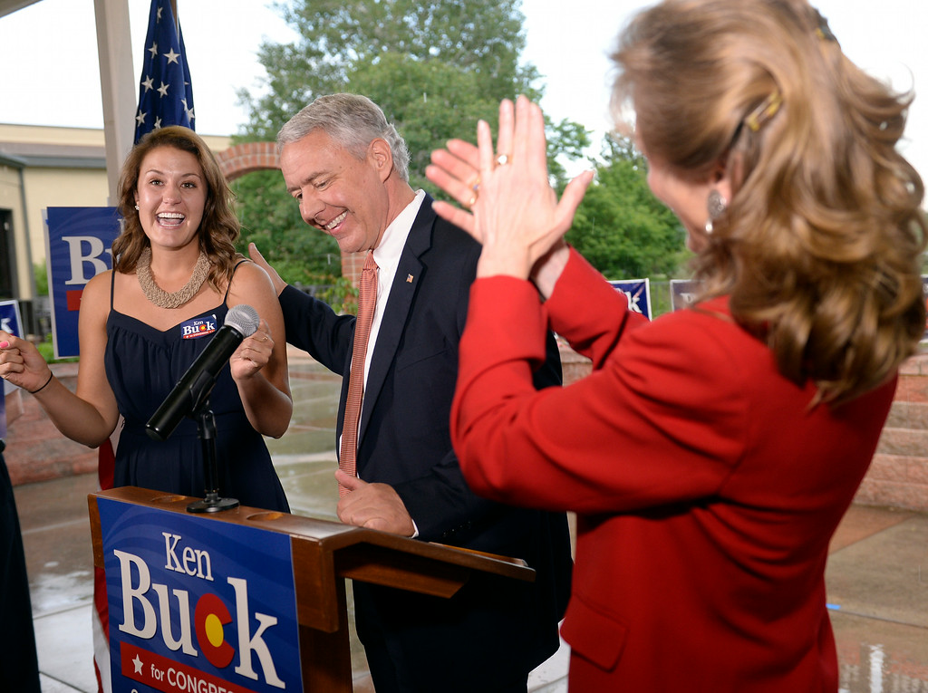 . Ken Buck won the  GOP  primary for the 4th Congressional  District seat. He was with his daughter Kaitlin, left and wife Perry  at his party at Cazadores Mexican Grill and Cantina in Greeley on Tuesday, June 24, 2014.  (Denver Post Photo by Cyrus McCrimmon)