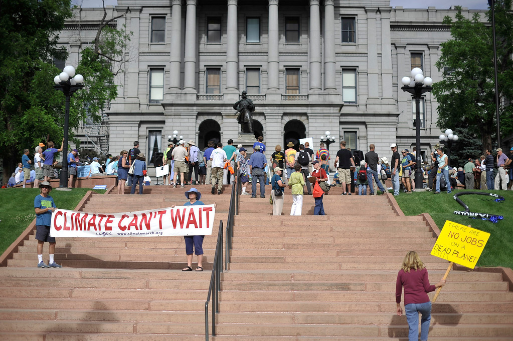 . The Great March for Climate Action held a rally in support of political action on climate change on the west steps of the State Capitol in Denver, Colorado on Monday, June 16, 2014. Marchers started March 1, 2014 in Los Angeles with participants aiming to reach Washington DC on foot by Novermber. (Photo By Patrick Traylor/The Denver Post)