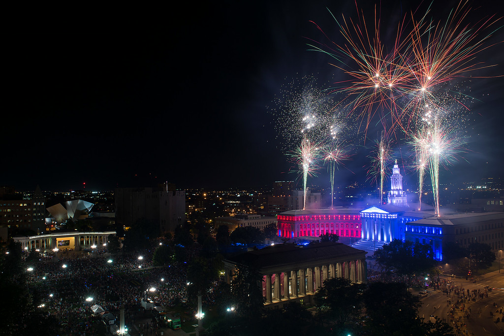 . DENVER, CO - JULY 3: Fireworks shoot off the Denver City and County Building as seen from the Denver Post Building in Civic Center on July 3, 2014 in Denver, Colorado. (Photo by Daniel Petty/The Denver Post)