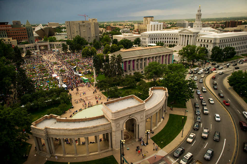 . DENVER, CO - JULY 03:  Thousands of people pack Civic Center Park before the start of the annual Independence Day Fireworks on Thursday, July 03, 2014 in Denver, CO.  (Photo by Kent Nishimura/The Denver Post)