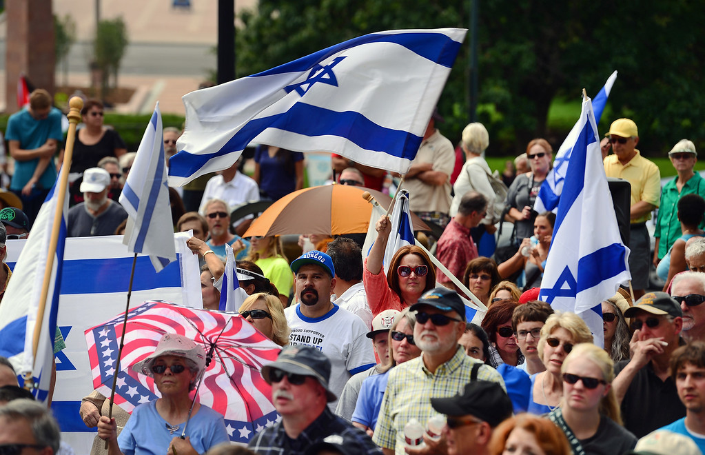 . A few hundred people took part in a pro-Israel rally on the west steps of the state Capitol in Denver, CO  on July 27, 2014. (Photo By Helen H. Richardson/ The Denver Post)