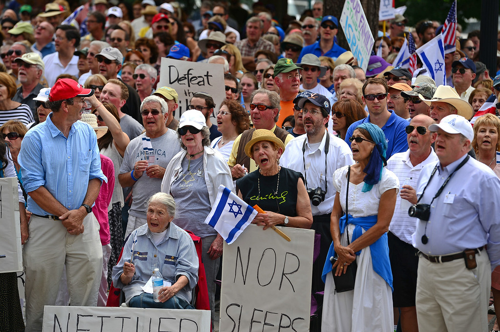 . Irene Defez, in middle with hat, and Ethel Scher, seated at left, joined hundreds of others  who took part in a pro-Israel rally on the west steps of the state Capitol in Denver, CO  on July 27, 2014. (Photo By Helen H. Richardson/ The Denver Post)