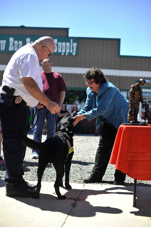 . BROOMFIELD, CO. - AUGUST 2: The Colorado Bureau of Investigation held a retirement ceremony for Sadie, an accelerant detection canine, or arson dog, at Willow Run Feed & Supply in Broomfield Saturday, August 2, 2014. (Photo By Patrick Traylor/The Denver Post)