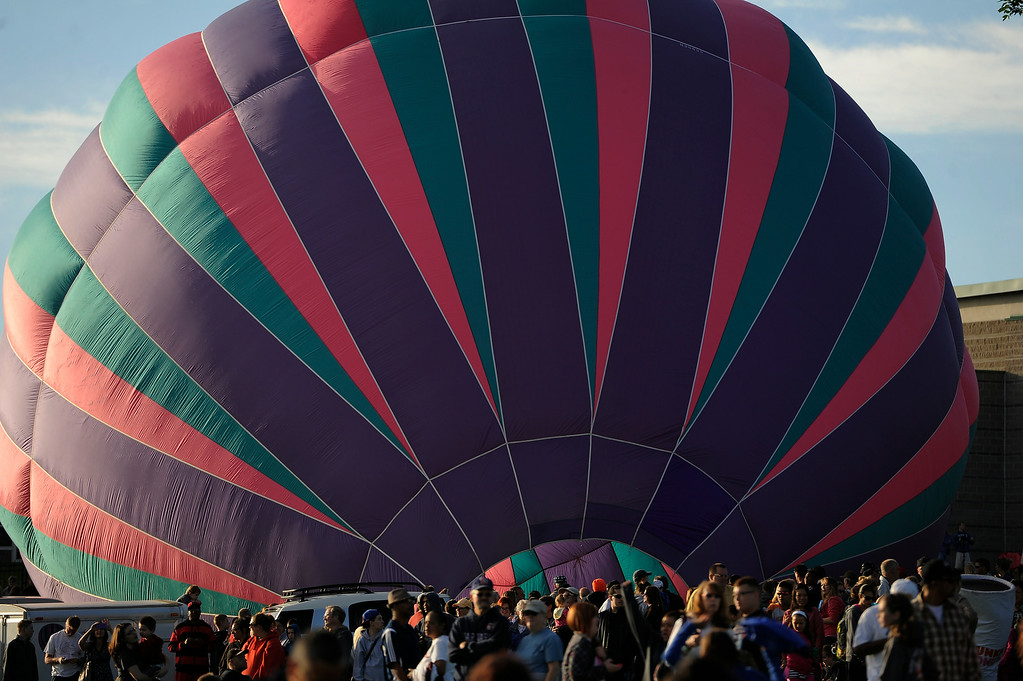 . Hundreds of balloon enthusiasts gather to watch the launch of The 2014 Colorado Balloon Classic. (Photo by John Leyba/The Denver Post)