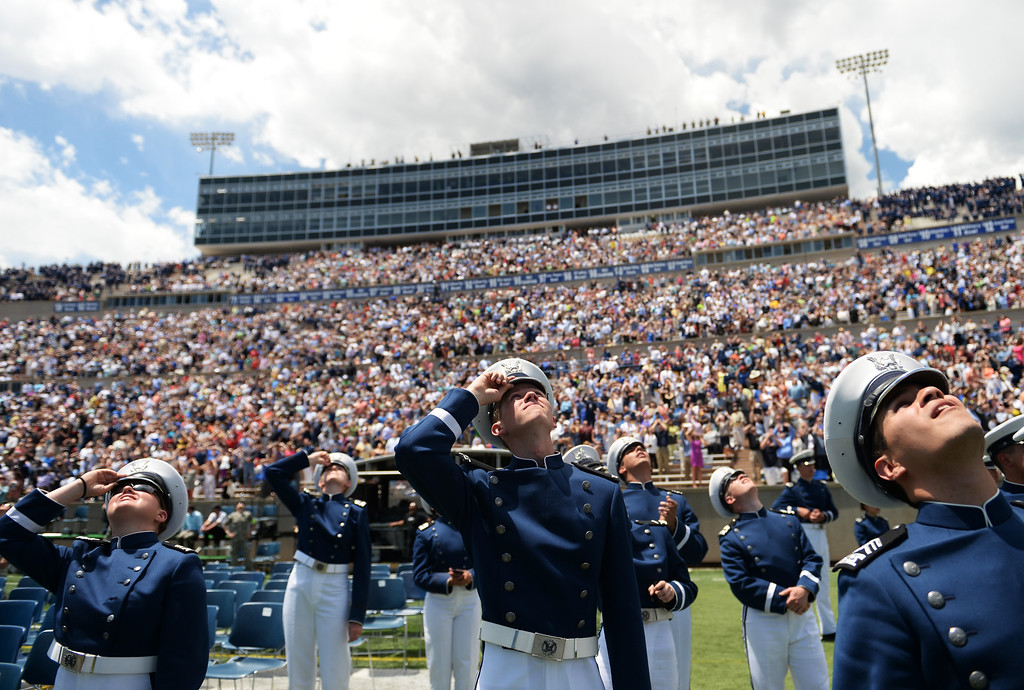 . Cadets watch the Thunderbirds preform after their commencement ceremony at Air Force Academy in Colorado Spring, May 28, 2014.  (Photo by RJ Sangosti/The Denver Post)