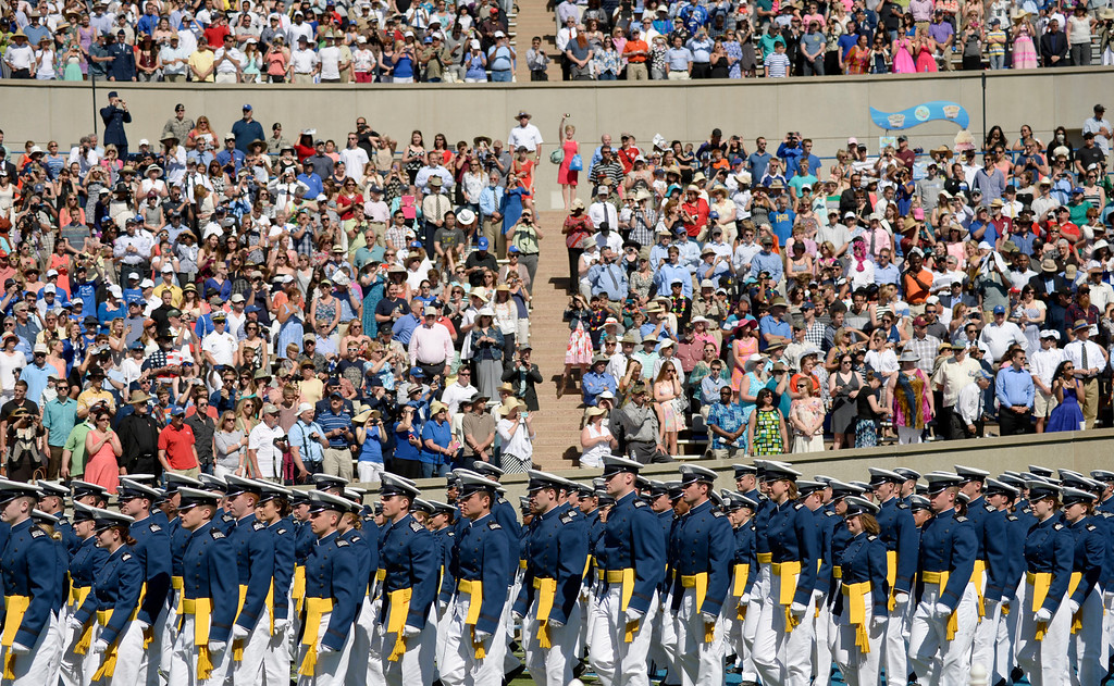 . The class of 2014 cadets walk into the stadium at the start of the commencement ceremony at Air Force Academy in Colorado Spring, May 28, 2014.  (Photo by RJ Sangosti/The Denver Post)