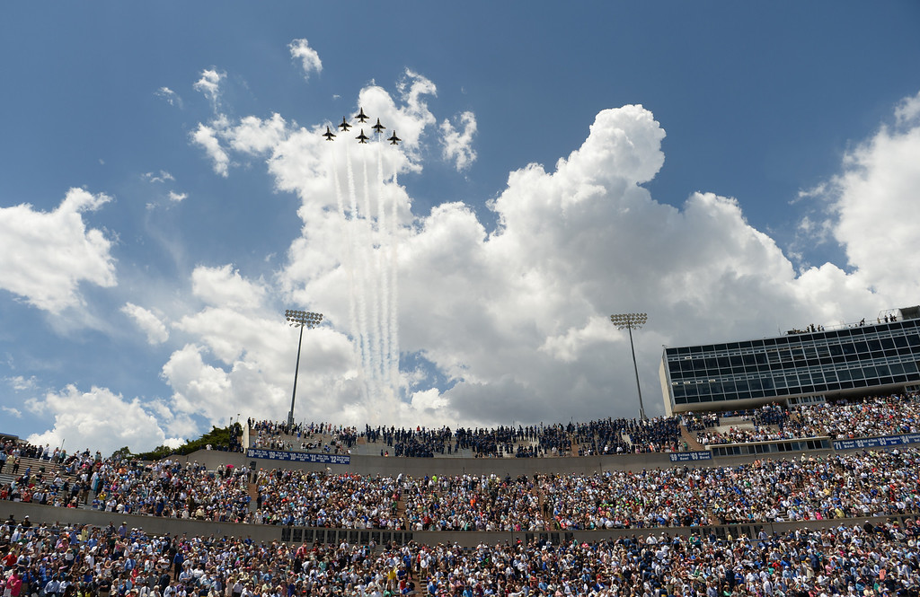 . The Thunderbirds preform after the commencement ceremony at Air Force Academy in Colorado Spring, May 28, 2014.  (Photo by RJ Sangosti/The Denver Post)