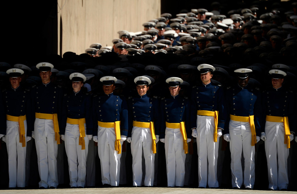 . COLORADO SPRINGS, CO - MAY 28:  The class of 2014 cadets walks into the stadium at the start of the commencement ceremony at Air Force Academy in Colorado Spring, May 28, 2014. (Photo by RJ Sangosti/The Denver Post)