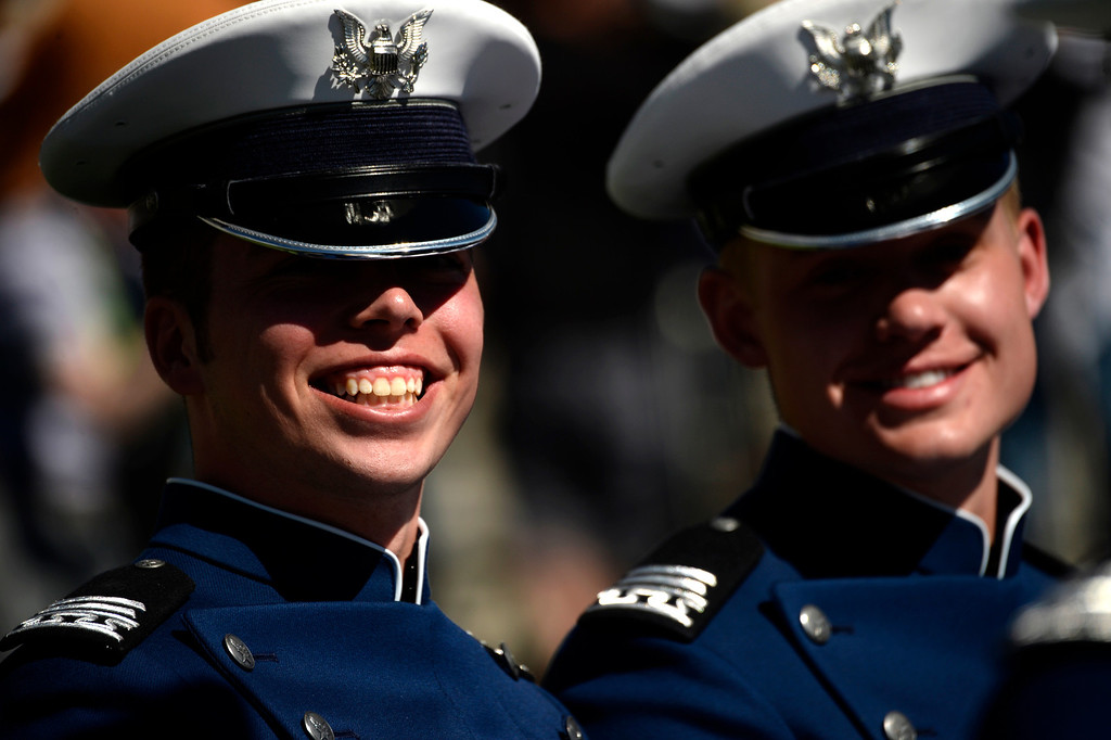 . Cadets are all smiles during the commencement ceremony at Air Force Academy in Colorado Spring, May 28, 2014. (Photo by RJ Sangosti/The Denver Post)