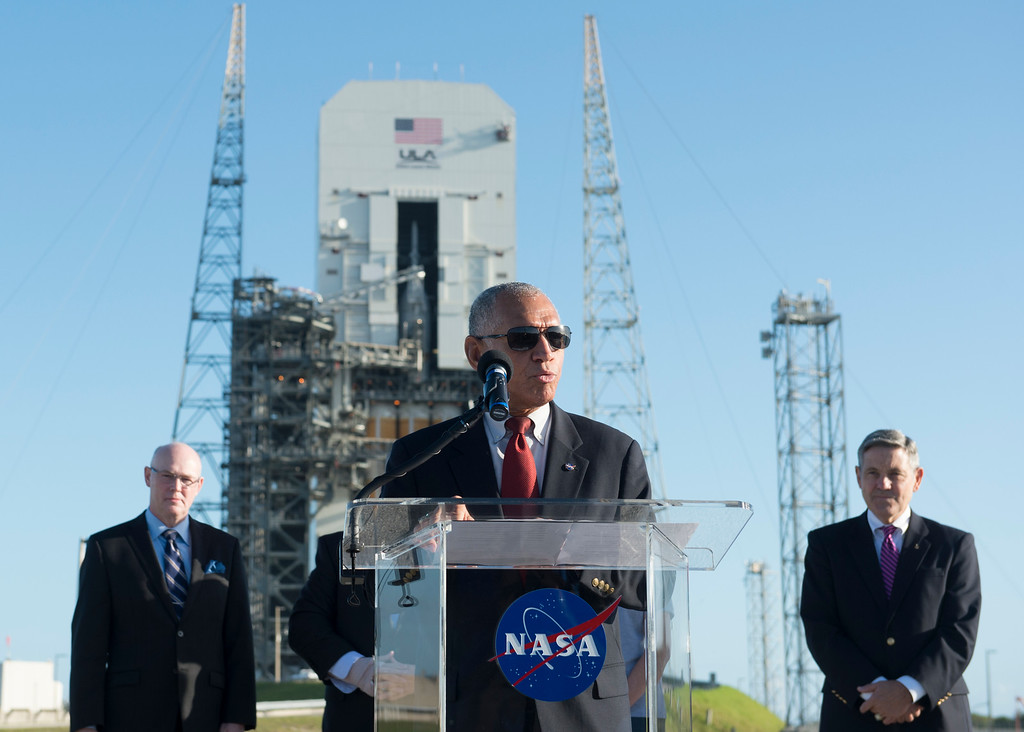 . CAPE CANAVERAL, FL - December 3: NASA Administrator Charles Bolden answers questions from reporters during a press conference Wednesday, December 3, 2014 at Space Launch Complex 37 at the Kennedy Space Center in Cape Canaveral, Florida. NASA Administrator Charles Bolden delivered a message about the importance of Orion space craft launch from the future of NASA, as well as, likening the launch to the original Apollo mission.  (Photo By Brent Lewis/The Denver Post)
