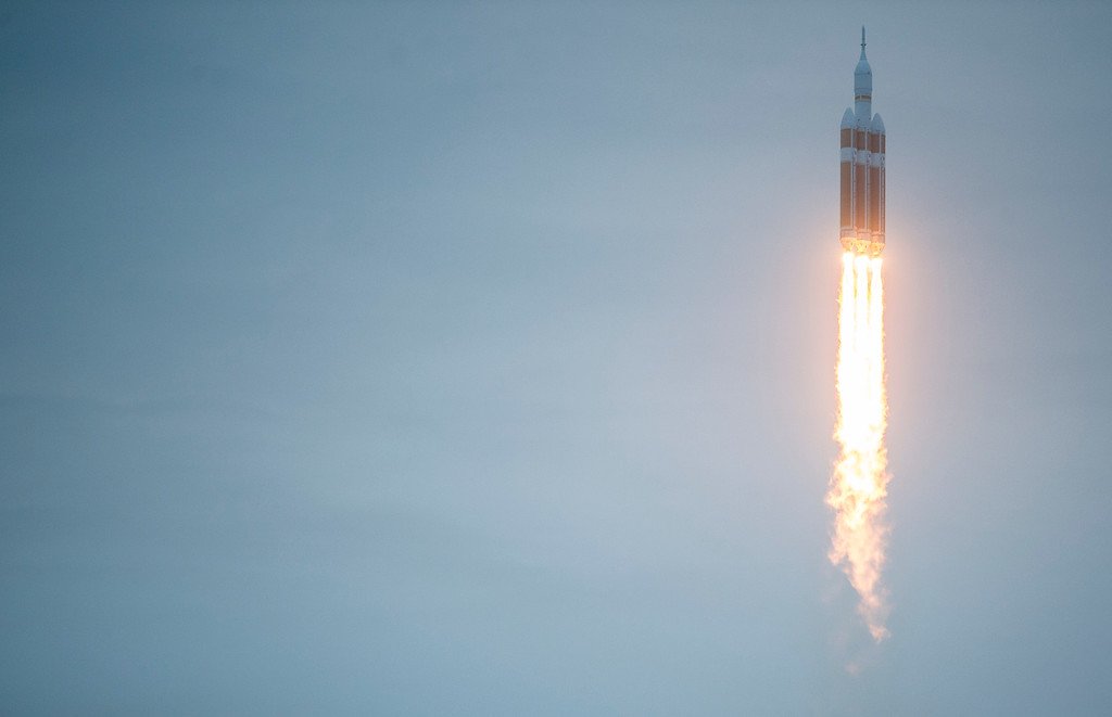 . The space craft Orion lifted off with the use of a Delta IV Heavy rocket Friday, December 5, 2014 at the Cape Canaveral Air Force Station in Cape Canaveral, Florida. Orion fitted with United Launch Alliance\'s Delta IV Heavy rocket traveled into space to orbit Earth twice before returning into the Pacific Ocean near the coast of San Diego.  (Photo By Brent Lewis/The Denver Post)