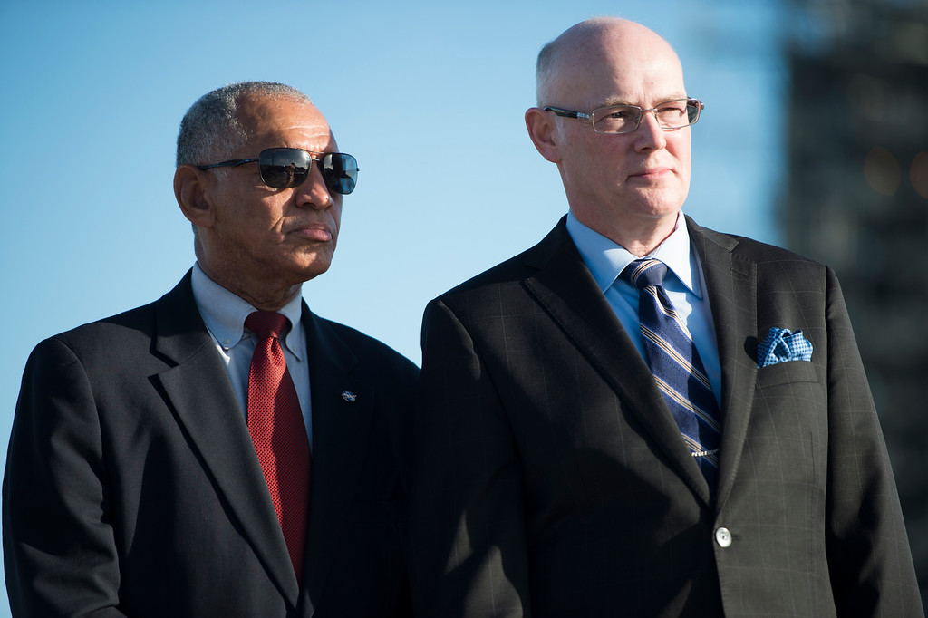 . CAPE CANAVERAL , FL - December 3: NASA Administrator Charles Bolden and President and CEO of United Launch Alliance Tory Bruno listen to speakers during a pre-launch press conference Wednesday, December 3, 2014 at Space Launch Complex 37 at the Kennedy Space Center in Cape Canaveral, Florida. NASA Administrator Charles Bolden delivered a message about the importance of Orion space craft launch from the future of NASA, as well as, likening the launch to the original Apollo mission.  (Photo By Brent Lewis/The Denver Post)