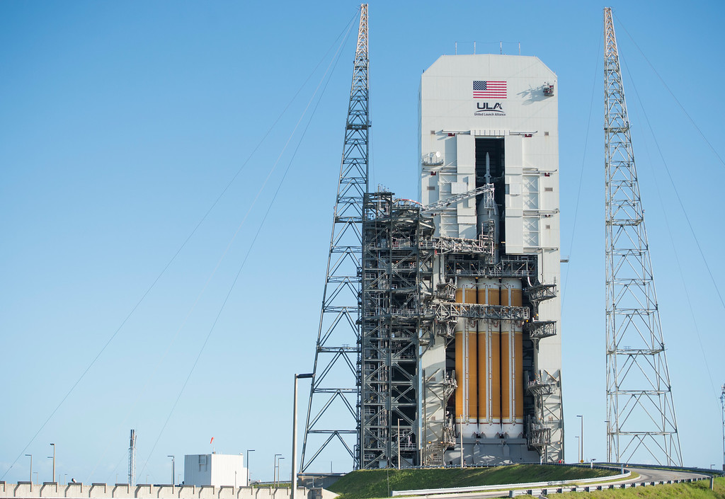 . CAPE CANAVERAL , FL - December 3: The Orion space craft sits on the launch pad less than 24 hours before it\'s launch Wednesday, December 3, 2014 at Space Launch Complex 37 at the Kennedy Space Center in Cape Canaveral, Florida. NASA Administrator Charles Bolden delivered a message about the importance of Orion space craft launch from the future of NASA, as well as, likening the launch to the original Apollo mission.  (Photo By Brent Lewis/The Denver Post)