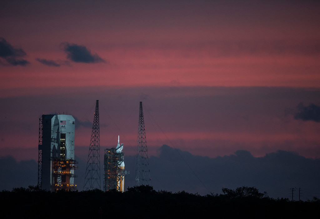 . The spacecraft Orion sits on the launchpad while awaiting to attempt liftoff Thursday, December 4, 2014 at the Cape Canaveral Air Force Station in Cape Canaveral, Florida. Orion fitted with United Launch Alliance\'s Delta IV Heavy rocket scrubbed the first day of flight window after a possible issue with the valve systems on the boosters. (Photo By Brent Lewis/The Denver Post)