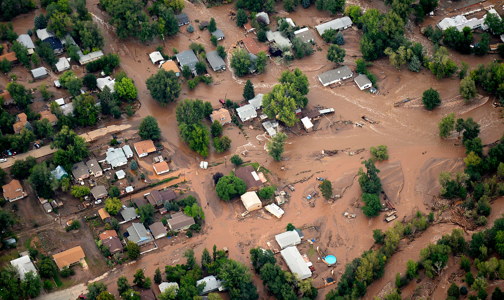 . The town of Lyons is flooded by the North and South Vrain Creeks on September 13, 2013. Rescuers in Lyons were scrambling to evacuate residents because the only bridge into the town was beginning to crumble.