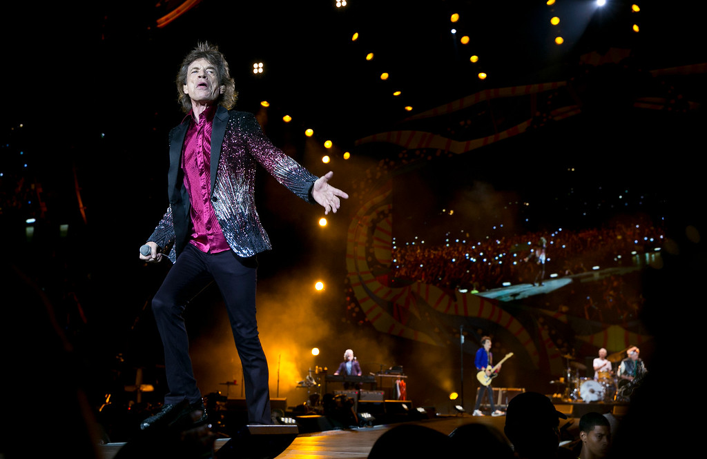 . Mick Jagger of The Rolling Stones performs in Havana, Cuba, Friday March 25, 2016. The Stones are performing in a free concert in Havana Friday, becoming the most famous act to play Cuba since its 1959 revolution. (AP Photo/Enric Marti)