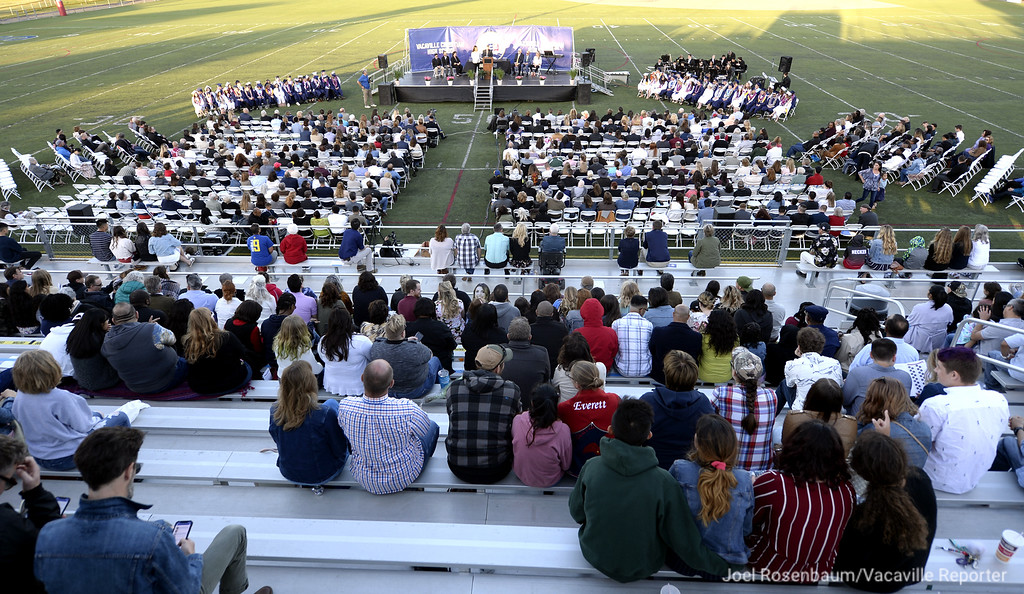 . Friends and family fill the bleachers at Falcon Field at Vacaville Christian High School Thursday to cheer on the graduates of the Class of 2018.