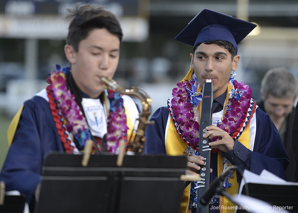 . Vaca Christian High graduates, Jack Gardner (left) and Alex Foley perform with the Vacaville Christian Radio Jazz Band during commencement ceremonies.