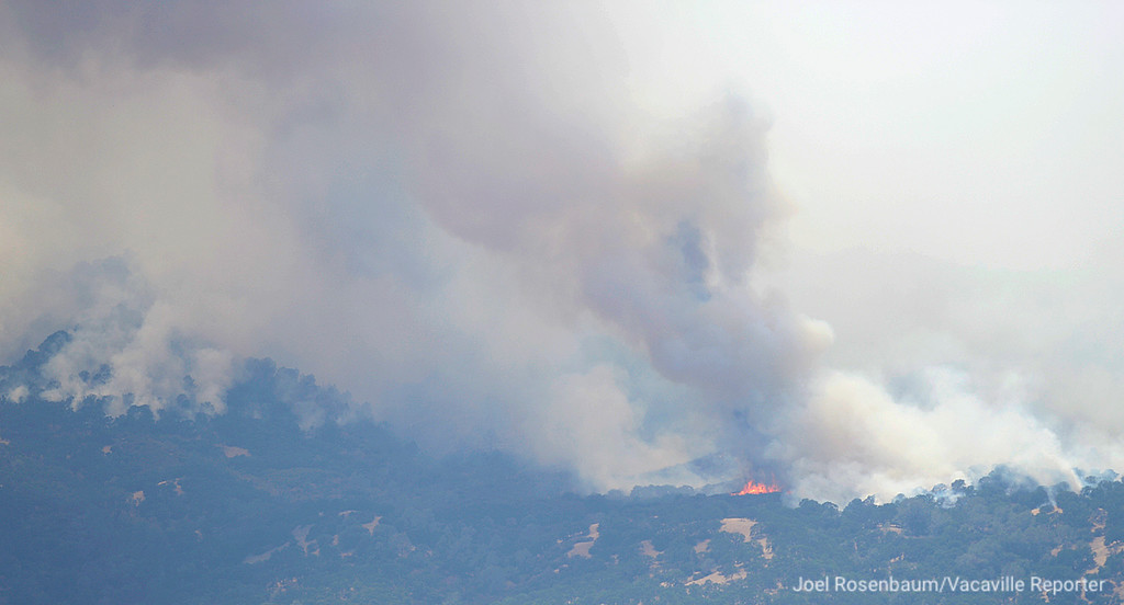 . Fire erupts on the hills above Madison, California as crews work to gain ground on the County Fire during in three counties. The blaze broke out Saturday afternoon and has now grown to an estimated 60,000 acres according to the California Department of Forestry and Fire Protection (CAL FIRE.)