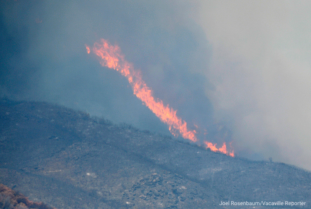 . Flames make a run up a hillside above Guinda, California Monday, July 2, 2018 as the County Fire still rages. According to the California Department of Forestry and Fire Protection (CAL FIRE) the blaze is only five percent contained.