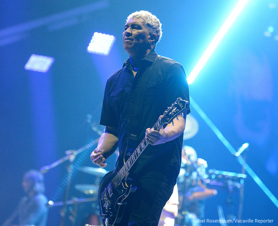 ". Foo Fighters guitarist Pat Smear plays ""All My Life\"" during their sold-out show at the Golden 1 Center Saturday in Sacramento."