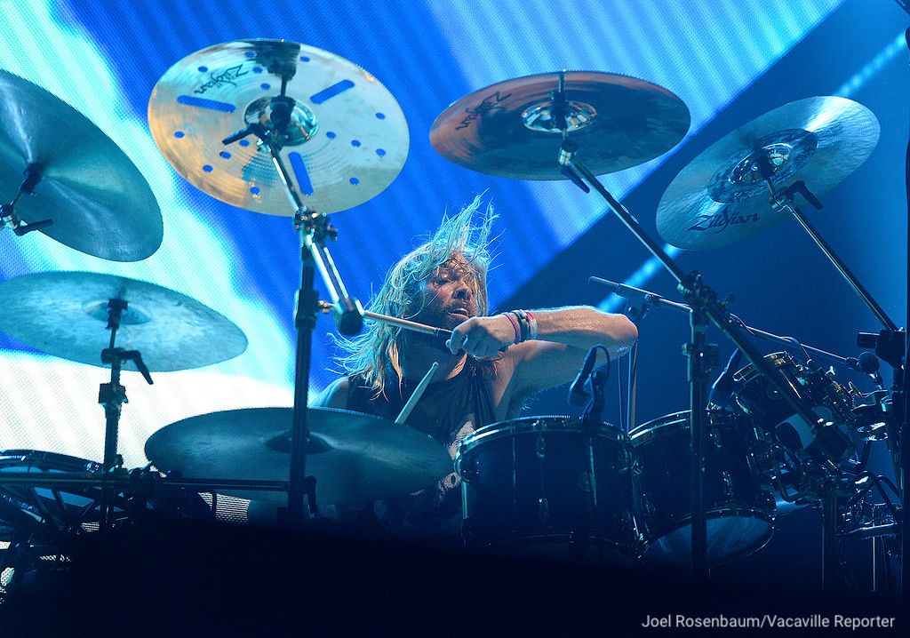 ". Foo Fighters drummer, Taylor Hawkins keeps the beat as they perform ""Learning to Fly\"" during their sold-out show Saturday at the Golden 1 Center in Sacramento."