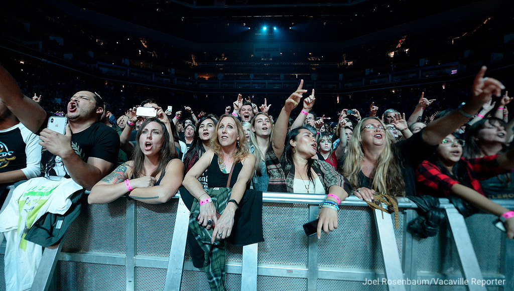 ". Foo Fighters fans sing along with the group during their opening song, ""Run\"" from their new album, \""Concrete and Gold,\"" during their sold-out show at the Golden 1 Center in Sacramento."